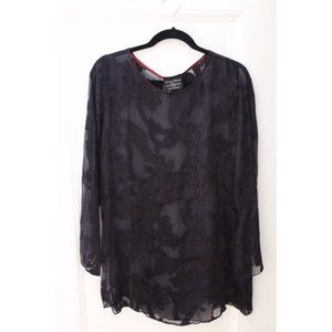 Vintage Sheer Navy Paisley Silk Devore Blouse